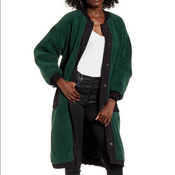 J.O.A. Faux Fur Long Bomber Teddy Coat